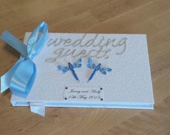 Wedding Guest Book Blue Dragonflies