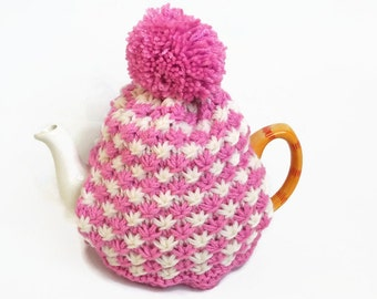 tea cozy hand knitted cosies pink and cream cosy