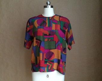 WEEKEND SALE 25% OFF / 90's colorblock silk blouse / womens shirt/ womens top / silk / 90's box cut / small size
