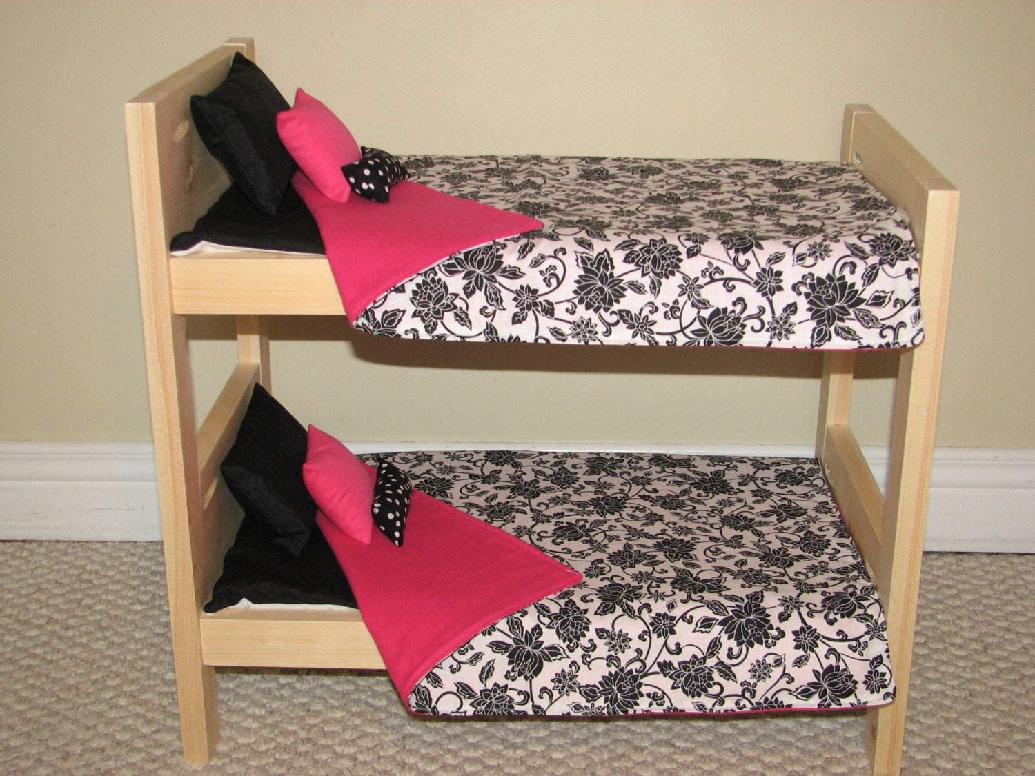 american girl doll bunk bed bedding set black by mamcreations. Black Bedroom Furniture Sets. Home Design Ideas