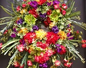 Front Door Wreaths, Lush Summer Wreath, Spring Wreath Decor, Hydrangea Wreath, Colorful Wreaths