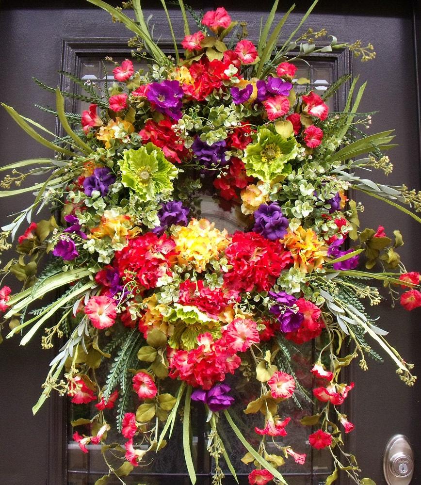 Front Door Wreaths Lush Summer Wreath Spring Wreath By