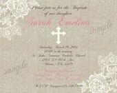 Vintage Lace & Linen Baptism/Communion/Confirmation Invite -  DIY Digital, Printable Party INVITATION - 4x6 or 5x7