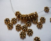 Beads, Gold Plated, Pewter, Snowflake, Heishi, 6mm, Pkg Of 12