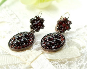 Vintage oval garnet earrings w/14ct gold wires Art Deco style || ГРАНАТ#PK