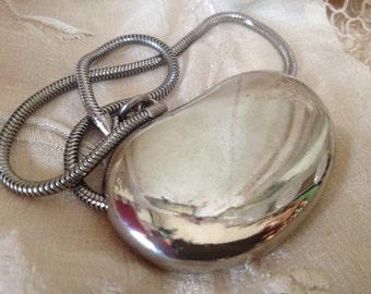 Pauline Rader MOD Silver Tone Choker Slider Pendant Necklace – Signed Vintage
