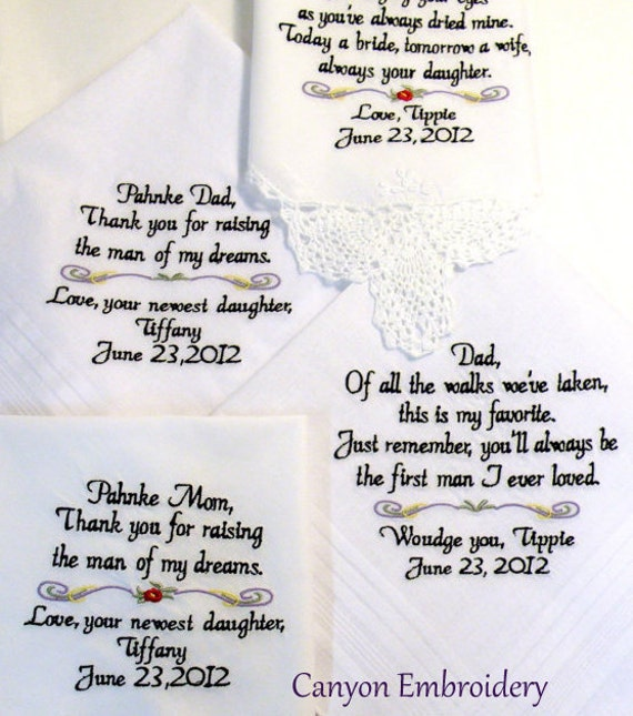 Embroidered Wedding Hankerchiefs Wedding Gift 4 Mother & Father of the Bride By Canyon Embroidery