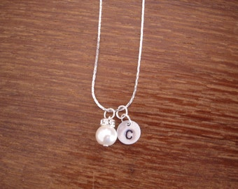 7 Simple Elegant Pearl and Initial Disc Bridesmaid Necklaces as Gifts - 7 Necklaces only, Weddings, Bridesmaid Gifts