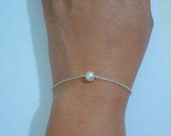 50% OFF - 6 Single Petite Pearl Bracelets - suitable as Bridesmaid Pearl Bracelet Gift, Floating Pearl Bracelet, Bridesmaid Gift