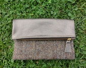 Gorgeous Fold over brown clutch: Tweed Clutch, Genuine Leather Clutch, Bronze leather
