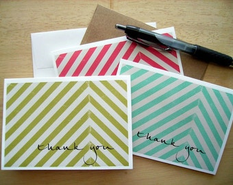 Chevron Thank You Notes - Geometric Chevron Stripe Stationery, Modern Note Card Set, Brick Red Bright Teal Light Olive Green Stripes