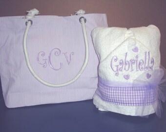 Purple Hooded Towel and Purple diaper bag Gift Set