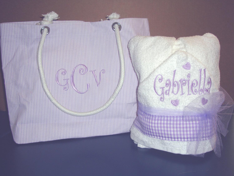 purple hooded towel and purple diaper bag gift set. Black Bedroom Furniture Sets. Home Design Ideas