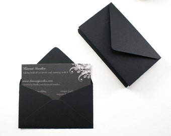 Business card envelopes - 10 black envelopes - 2 1/8 x 3 5/8 - love notes, gift card enclosure, packaging, florist