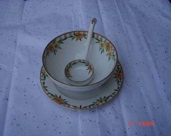 Antique Nippon Hand Painted Porcelain Condiment Set with Ladle - Beautiful
