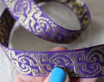 PURPLE and GOLD Insight jacquard woven ribbon