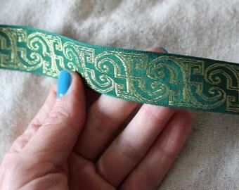 GREEN and GOLD Insight jacquard woven ribbon