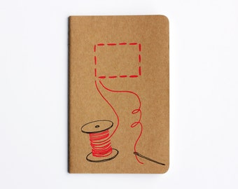 Sewing Notebook, Spool of thread, Red, Illustration, Lined Notebook, Hand Drawn, Idea Notebook