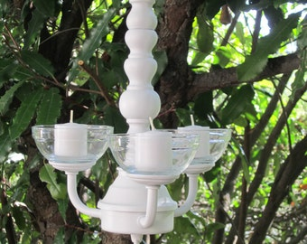 HANGING CHANDELIER CANDLE Holder- Oak 3 arm. Satin  White with Blue Glass or Clear Glass Votives/Indoor/Outdoor/Beach Decor