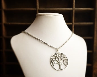 Tree of Life Pendant Necklace / Antique Silver / Large / Pick Your Length