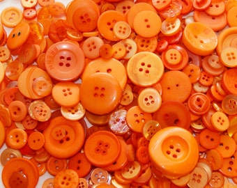 100 Orange Buttons, Assorted sizes, Sewing Buttons, Craft Buttons (1317)