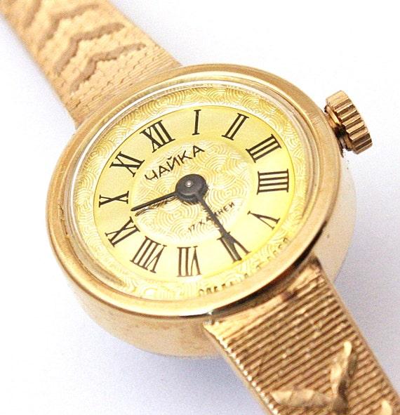 Women watch - Ladies watch Chaika - womens wrist watch from Russia Soviet Union, Gold watch Chaika, Vintage gold wrist watch,