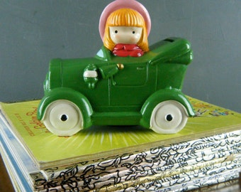 Joan Walsh Anglund, Girl with Pink Hat in Green Convertible, Model T Car, Coin Bank, 1978, Fun Childrens Room Decor, Collectable Figurine
