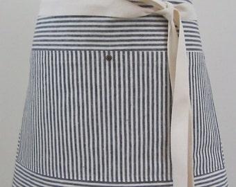 Half Apron  Woman Hemp Cotton Fabric Indigo Striped Work Apron  Custom Made