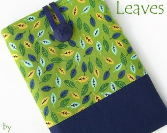 LEAVES Tablet Case for Nexus 7, Kindle Fire HD, iPad Mini,  Nook, Galaxy Tab. Blue, Green. UK Handmade.