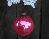 75% of this item, enter LOVE2016 at checkout, Vintage Hot Pink Glass Ornament, Pink Ornament, Pink, Shiny Brite Glass Ornament, Glass Ball