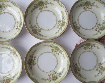 Vintage Dessert Bowls Newloch China Floral Set of Six