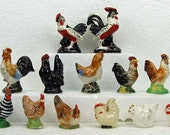 Vintage Lot of 15 Rooster and Chicken Salt Pepper Shakers Cottage Chic Mid Century Country ATCTTEAM