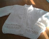 Hand Knitted Childs Girls Crew Neck Button Cardigan