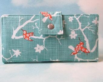 Handmade wallet Orange hummingbird over white blossoms - ID clear pocket - Women's Bi fold wallet - custom order