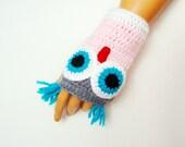 Hand Knit Owl Gloves, Fingerless Pink Gray Owl mitten, Winter Fashion, Fall Fashion,  Pink Gloves,  Arm Warmer, Winter Accessories
