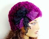 Crochet  Burgundy Hat, Beanie Beret, Women Winter hat, Women Beanie, Winter Accessories, Holiday Accessories