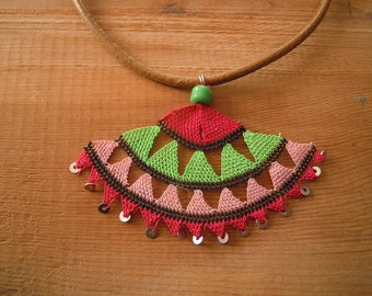 necklace, turkish needle lace, pink green