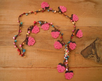 crochet rose necklace, pink brown