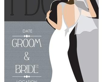 "Custom Vintage 12""x18"" Wedding Poster ""The Dance"" - Free Shipping"
