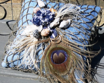 Ring Bearer Pillow, Shabby Chic, Beach Destination Wedding, Blue Denim, Sea Shells, Fishing Net, Peacock Feathers - Ready to Ship