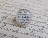 Father of the Bride Tie Tac/Lapel Pin Wedding by Kristin Victoria Designs