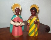 Ebony First Blessing Nativity - Holy Family Figurines - African American - Holy Family of Color - Signed