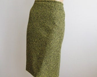Vintage 80s Skirt Mondi Italian Wool Black & Yellow Houndstooth Check Pencil Skirt