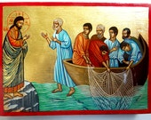 Christ and apostles handpainted icon, Christ appearing to the apostles on the sea of Galilee, 8x6 inches, MADE TO ORDER