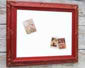 "HOME OFFICE KITCHEN Dry Erase Board 31""x27"" Red Framed Kitchen Whiteboard White Board Memo Board Magnet Boards Unique Ornate Bulletin Board"
