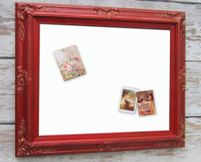 dry erase board baroque framed 31x27 red framed