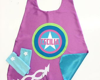 GIRLS PERSONALIZED Cape Set - Super Star CUSTOM Cape plus Star Fingerless Gloves and Super Hero Mask - Easter ready