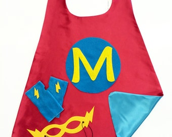 Fast Ship - Red and Turquoise  SUPER INITIAL Superhero Cape - 3 color choices - Add coordinating Fingerless Gloves and Super Hero Mask