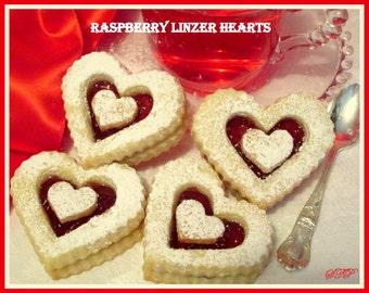 Shortbread Cookies Valentine Heart s or Wedding Cookies Raspberry ...