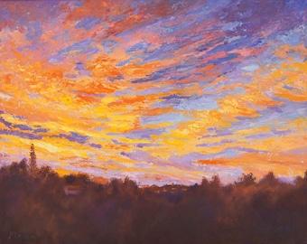 Impressionist Sunrise Oil Painting, Oil palette knife painting, Impressionist Landscape, Original, - Perfect Start sky Oil painting, 16x20